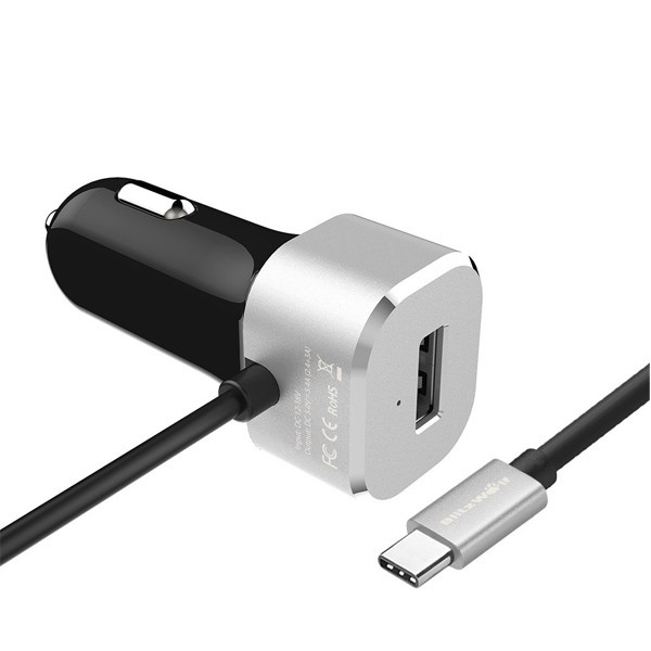 BlitzWolf® BW-C3 5V 5.4A 27W USB Type C 3A Car Charger for Nokia N1 tablet, Google Chromebook Pixel