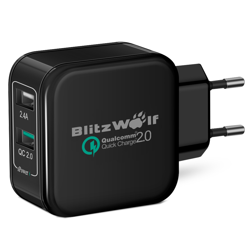 [Qualcomm Certified] BlitzWolf® QC2.0+2.4A 30W Dual USB EU Charger Adapter With Power3S Tech