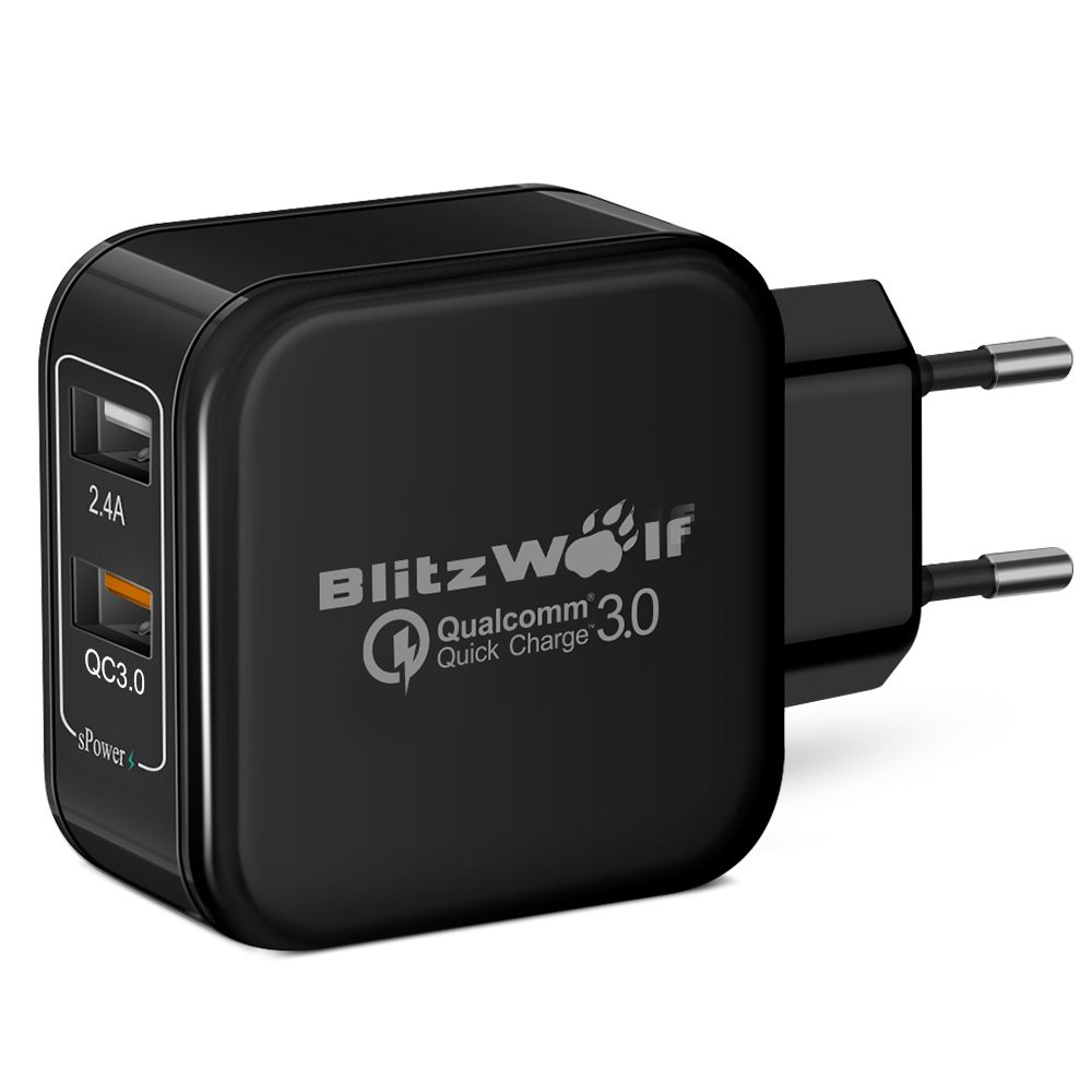 [Qualcomm Certified] BlitzWolf® QC3.0+2.4A 30W Dual USB Fast Charger EU Adapter With Power3S Tech