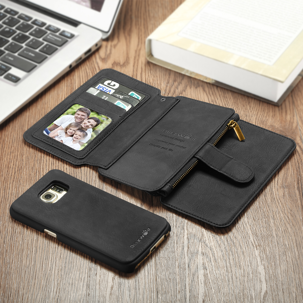 BlitzWolf Guardian Removable PU Zipper Wallet Case Cover For Samsung Galaxy S6