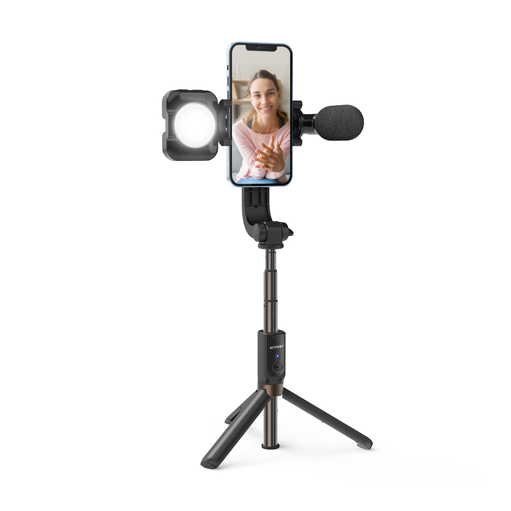 Tripod Selfie Stick with Fill Light & Microphone